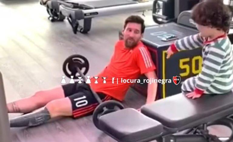 Photo of Messi entrenó durante la cuarentena con un short de Newell's